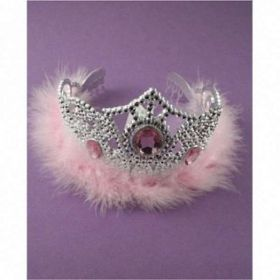 Silver Effect Tiara with Pink Fun Trim