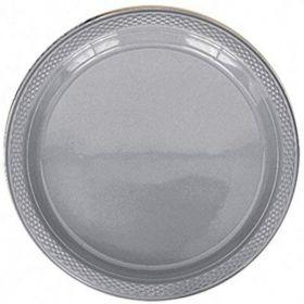 Silver Sparkle Plastic Plates 23cm, pk20
