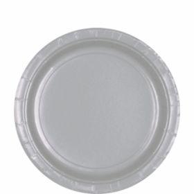 Silver Sparkle Paper Plates 22.8cm 8pk