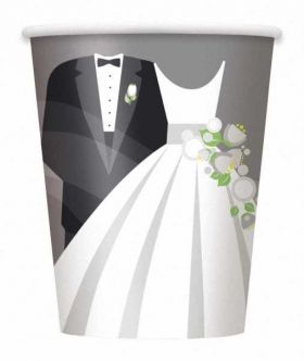 Silver Wedding 9oz Paper Cups