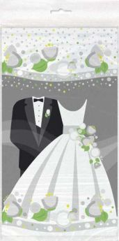 Silver Wedding Plastic Tablecover