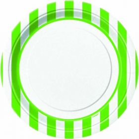 "Lime Green Striped 9"" Plates pk8"