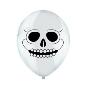 White Skull Print Latex Balloons