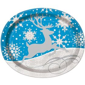 Silver Snowflake Christmas Oval Plates 30cm, pk8