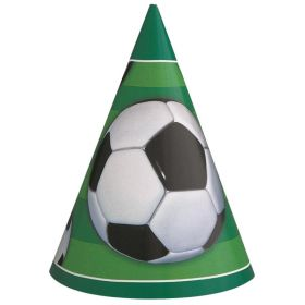 3D Soccer Paper Party Hats, pk8