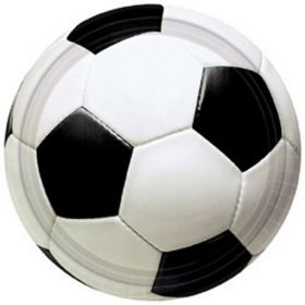 3D Soccer Party Plates, 23 cms, pk8