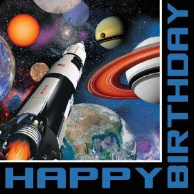 Space Blast Party Happy Birthday Lunch Napkins, 16pk