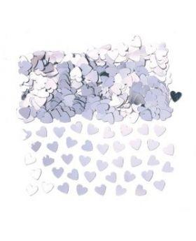 Sparkle Hearts Silver Confetti