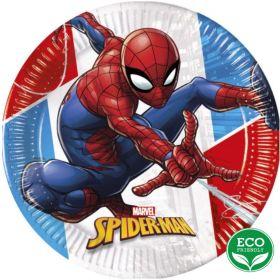 Spiderman Super Hero Party Plates 23cm, pk8
