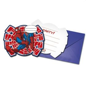 Spiderman Party Invitations, 6pk