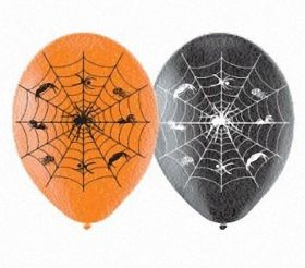 Spiders Web Halloween Latex Balloons 6pk