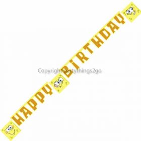 Spongebob Surf Party Happy Birthday Jointed Banner