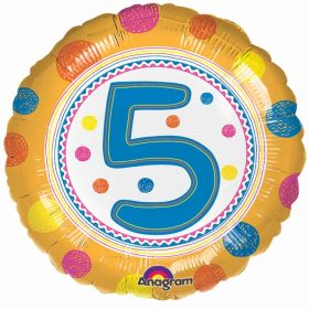 SpotOn 5th Happy Birthday Standard Foil Balloons
