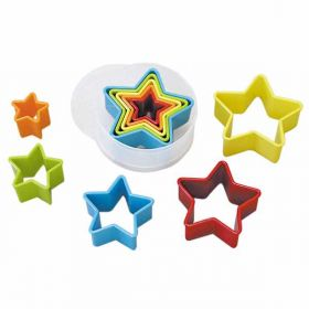 Star Multi Coloured Plastic Cookie Cutters pk5