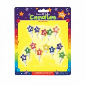Star Shaped Happy Birthday Party Candles