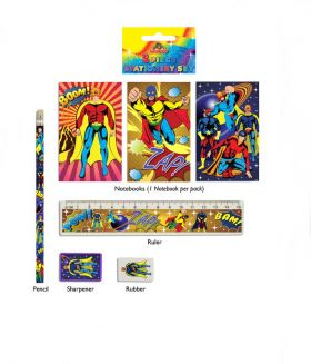 Super Hero 5 piece Stationery Set