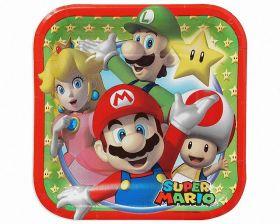 Super Mario Square Paper Plates 18cm, pk8