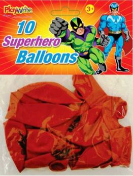 Superhero Latex Balloons Pk10