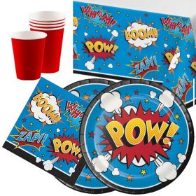 Superhero Slogans Tableware Party Pack for 16