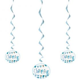 Christening Blue Bunting Party Hanging Swirl
