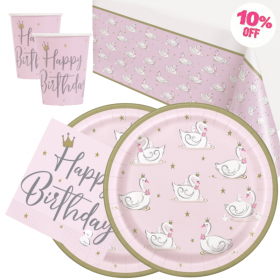 Swan Birthday Party Tableware Pack for 16
