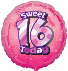 Sweet 16 Today Birthday Circle Foil Balloon