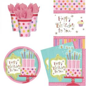 Sweet Stuff Party Pack For 8 including tableware and 8 filled party bags