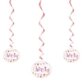 Christening Pink Bunting Party Hanging Swirls