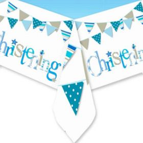 Christening Blue Bunting Party Tablecover