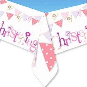 Christening Pink Bunting Tablecover
