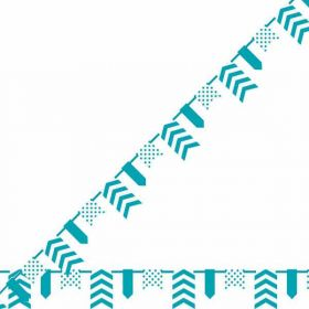 Teal Dots, Stripes & Chevron Pennant Banner
