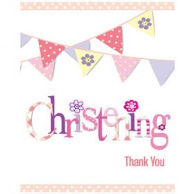 Christening Pink Bunting Party Thank you Cards Pk8
