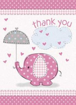 Umbrellaphants Pink Baby Shower Thank You Cards 8pk