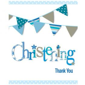Christening Blue Bunting Party Thank you Cards Pk8