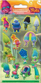 Trolls Fun Foil Re-usable Sticker Sheet