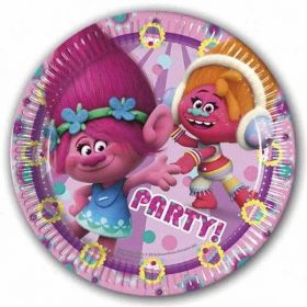 Trolls Paper Party Plates pk8 23cm
