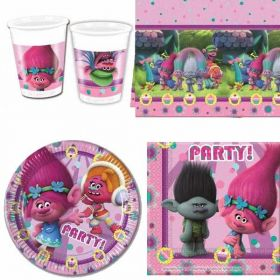 Trolls Party Pack For 8 including tableware and 8 filled party bags
