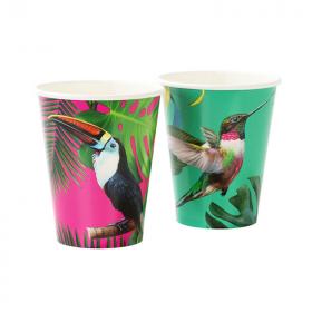 Tropical Fiesta Bright Large Paper Cups 330ml, pk12