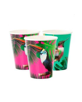 Tropical Fiesta Bright Large Paper Cups 330ml, pk12