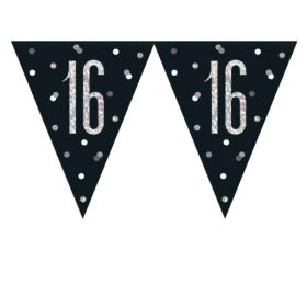 Glitz Black 16th Birthday Flag Banner 2.74m