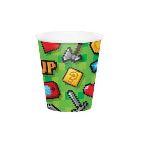 Gaming Party Paper Cups 256ml, pk8