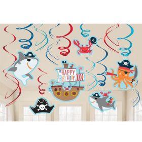 Ahoy Birthday Swirl Decorations, pk12