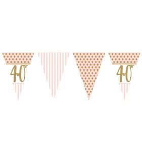 Pink Chic 40th Birthday Bunting 3.7m