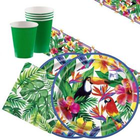 Tropical Palm Hawaiian Party Tableware Pack for 16