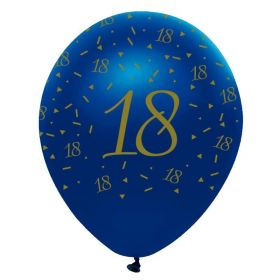 "Navy & Gold Geode Party Age 18 Latex Balloons 12"", pk6"