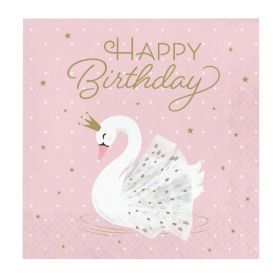 Swan Party Happy Birthday Napkins 33cm x 33cm, pk16