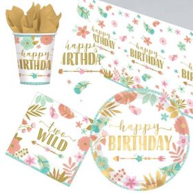 Boho Wild 2nd Birthday Tableware Pack for 8