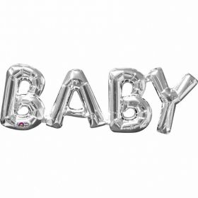 """Baby"" Phrase Silver Supershape Foil Balloons"