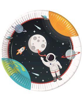 Space Astronaut Party Plates 23cm, pk8