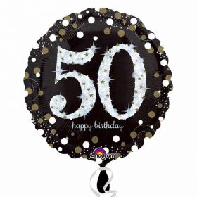 Gold Sparkling Celebration 50th Birthday Standard Foil Balloon